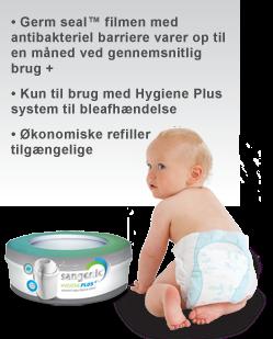 Image of 3 pak refill kassetter til Sangenic Hygiene Plus+, fra Tommee Tippee (2365223211)